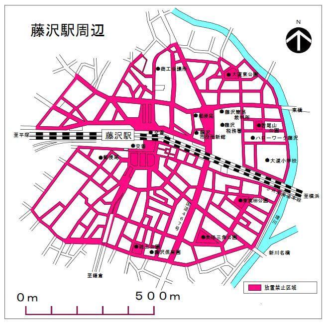 藤沢駅周辺の自転車放置禁止区域