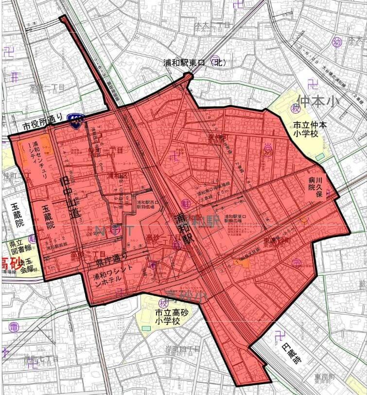 浦和駅の自転車放置禁止区域