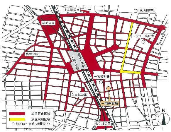 一宮駅の放置禁止区域