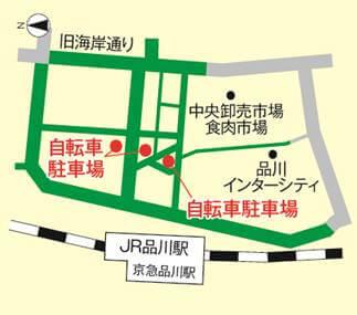 品川駅港南口の放置禁止区域