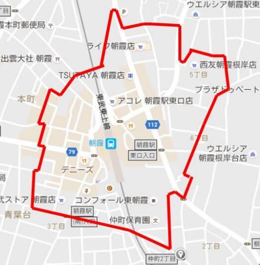 朝霞駅の放置禁止区域
