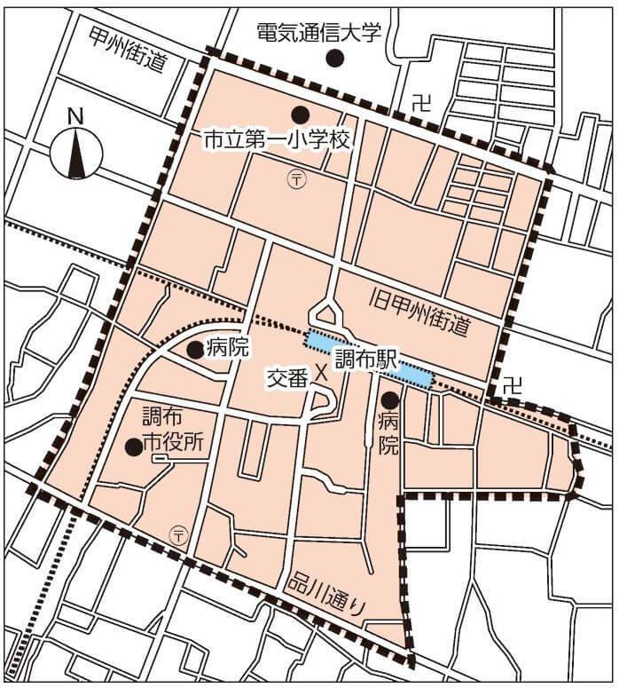 調布駅の放置禁止区域