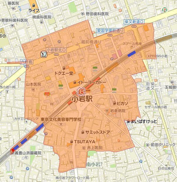 小岩駅の放置禁止区域